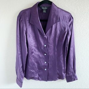 🛍Dark Purple Silk Button Down Blouse, Size 12
